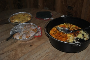 Breakfast - Dutch Oven Casserole and Cinnamon/Orange Rolls, plus fresh fruit