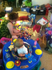 The sorting of the LEGOs (and the packing of the Little Girl Room)