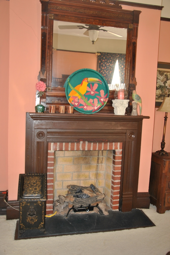 "The fireplace in Went's ""room""."