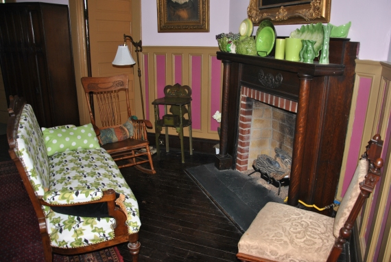 The sitting area/fireplace in the main room (the Royal Room).