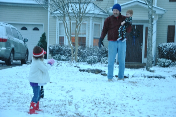 "Snowball fight!  (Or, more like ""snowfall"" fight - toss the snow in the air and GIGGLE as it rains down on you!)"