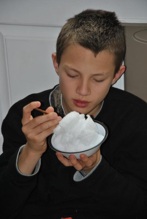 CW got a bowl of snow, too!