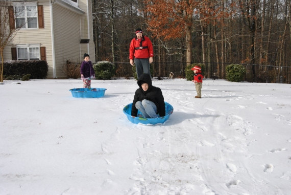 Sledding was improved when Papa was pushing!