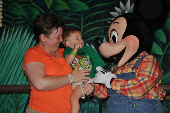 Someone is SO not sure about Farmer Mickey...