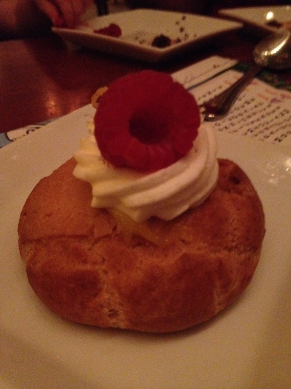 Lemon-Raspberry Cream Puff Filled with Lemon Custard. A No Sugar Added Dessert