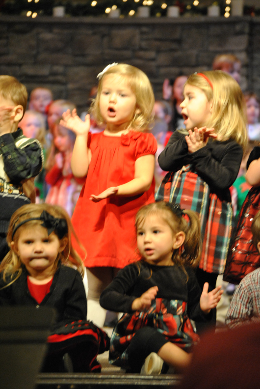 Christmas Program 2011 - Matching Dresses for the Twin Cousins